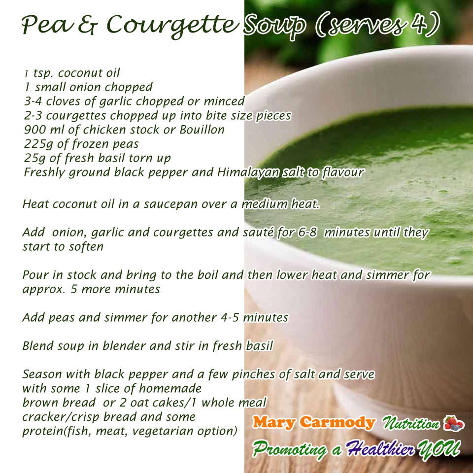 Pea and Courgette Soup Mary Carmody Nutrition Cork